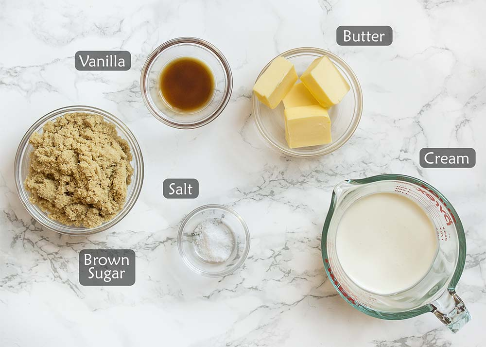 Ingredients for butterscotch sauce.