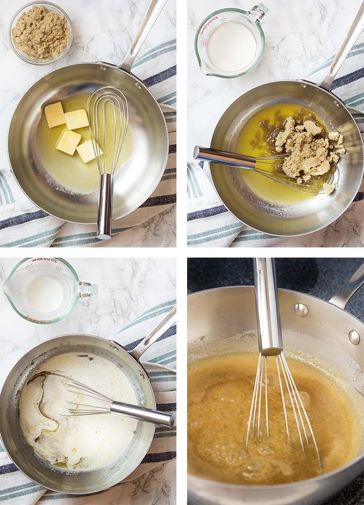 Step by step on how to make butterscotch dessert sauce.
