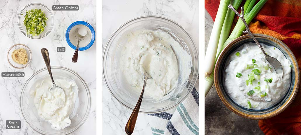 Step by step how to make the horseradish sauce.