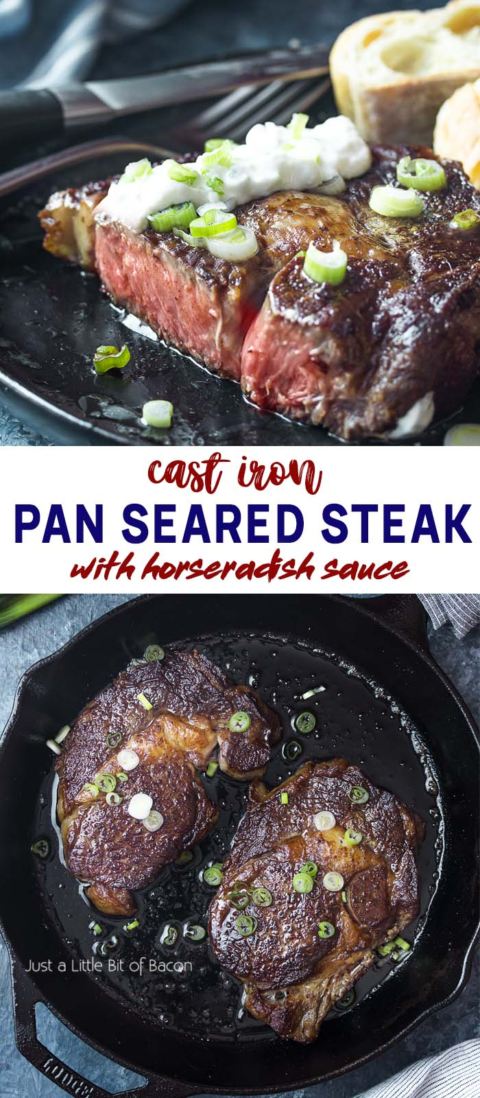 Steaks in skillet and on plate with text overlay - Pan Seared Steak.