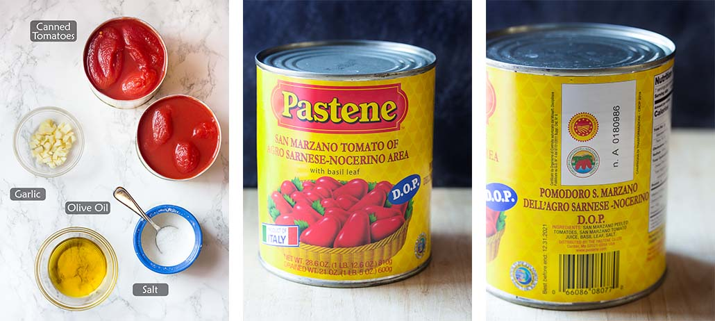 Ingredient for making sauce plus images of DOP San Marzano tomato cans.