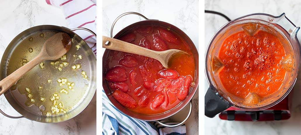 Step by step on how to make pomodoro sauce.