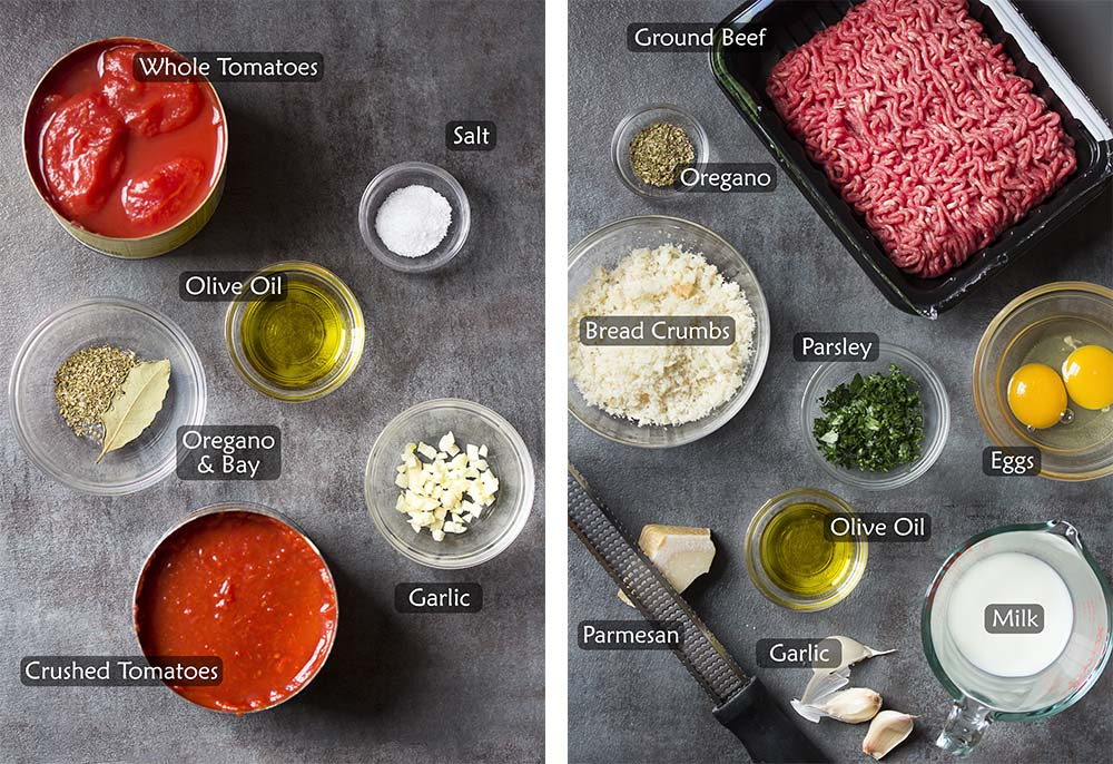 Ingredients for marinara sauce and meatballs.