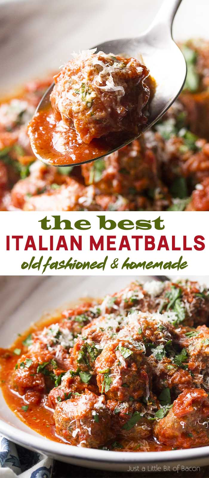 Meatball held on a spoon and in a serving bowl with text overlay - Italian Meatballs.