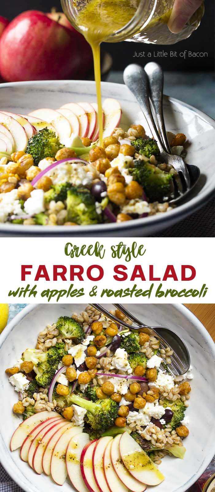 Recipe in a bowl with dressing pouring over and text overlay - Greek Style Farro Salad.
