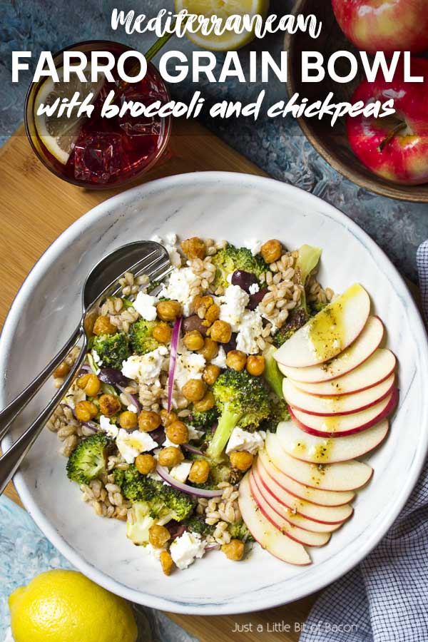 Recipe arranged in a wide bowl with text overlay - Mediterranean Farro Grain Bowl.