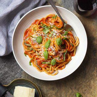 http://www.justalittlebitofbacon.com/italian-pasta-al-pomodoro/
