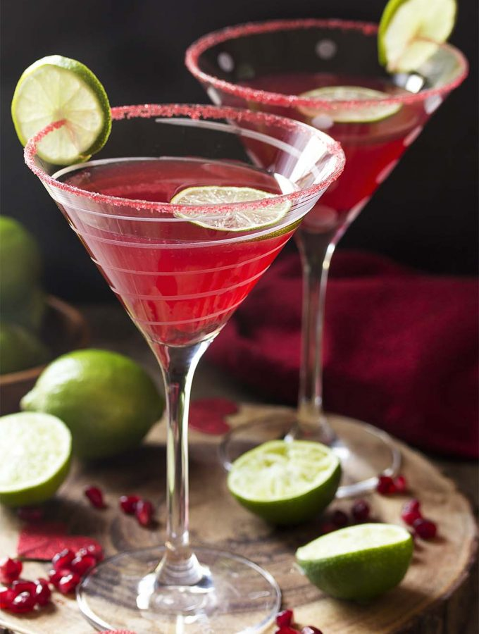 For the perfect holiday drink, try my vodka pomegranate martini cocktail! This easy recipe is well balanced, not too sweet, and simple to make. Great for Christmas, Valentine's Day, or any day you want a little something. | justalittlebitofbacon.com #cocktails #drinks #cocktailrecipes #drinkrecipes #pomegranate #martini #martinirecipes