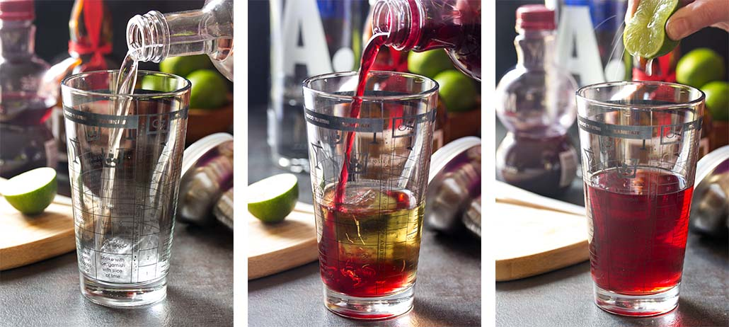Step by step on how to make a pomegranate martini.