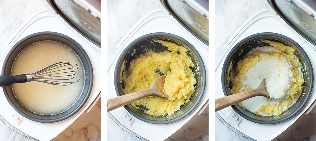 Step by step on how to make slow cooker polenta.