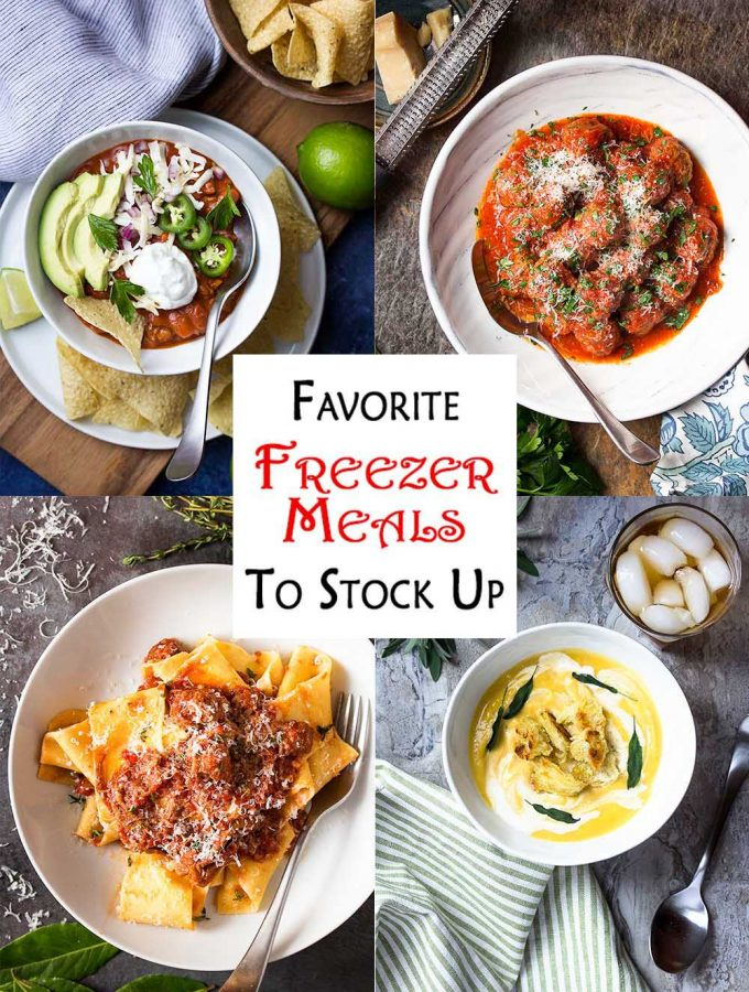 Here are some of my favorite freezer meals! These recipes are perfect for doubling (or more!) and making ahead to store away. Including dinners for your crockpot, instant pot, stove top, and oven. Chicken, beef, and vegetarian options. | justalittlebitofbacon.com #freezermeals #makeaheaddinners #dinnerrecipes