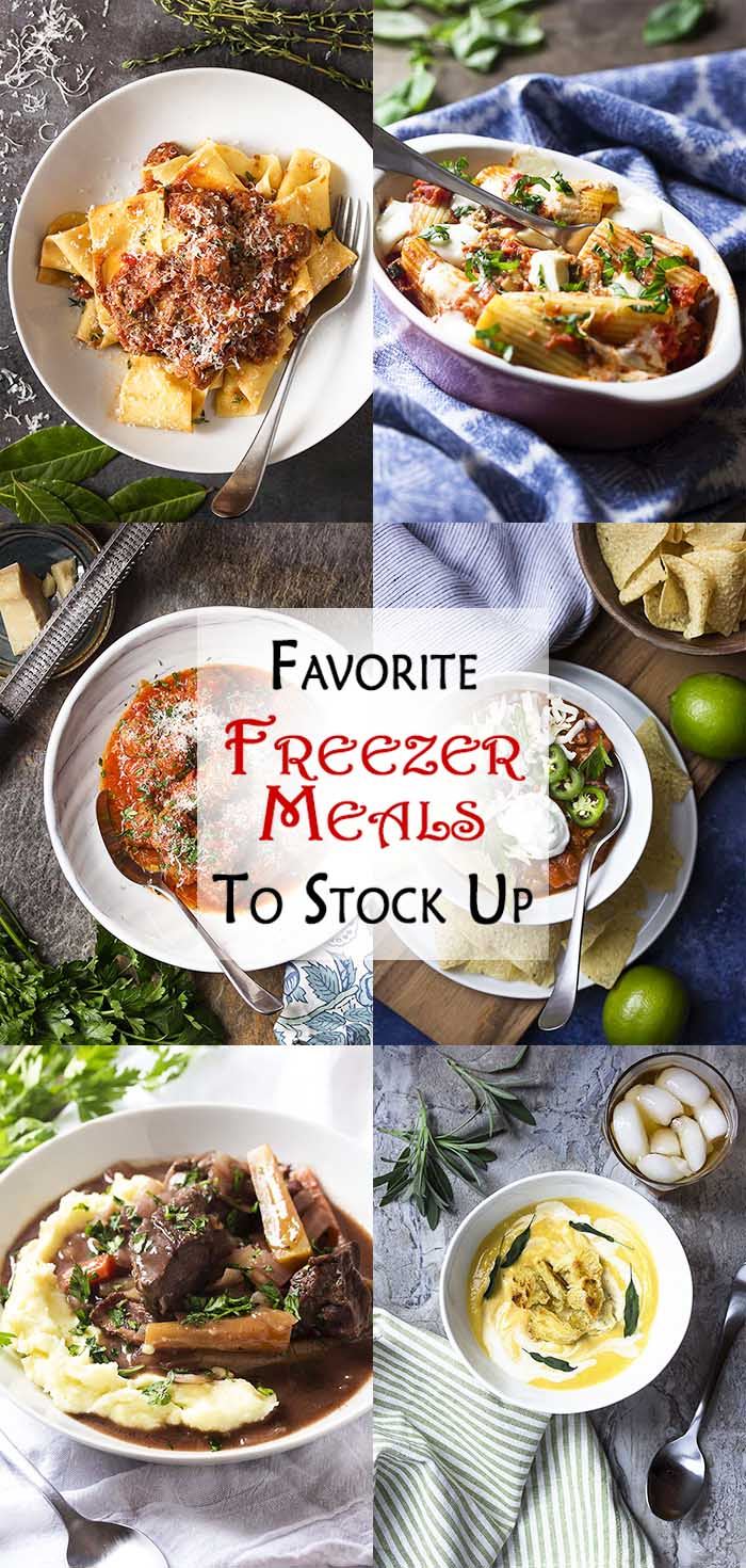 Long Collage of six recipes with text overlay - Favorite Freezer Meals to Stock Up.