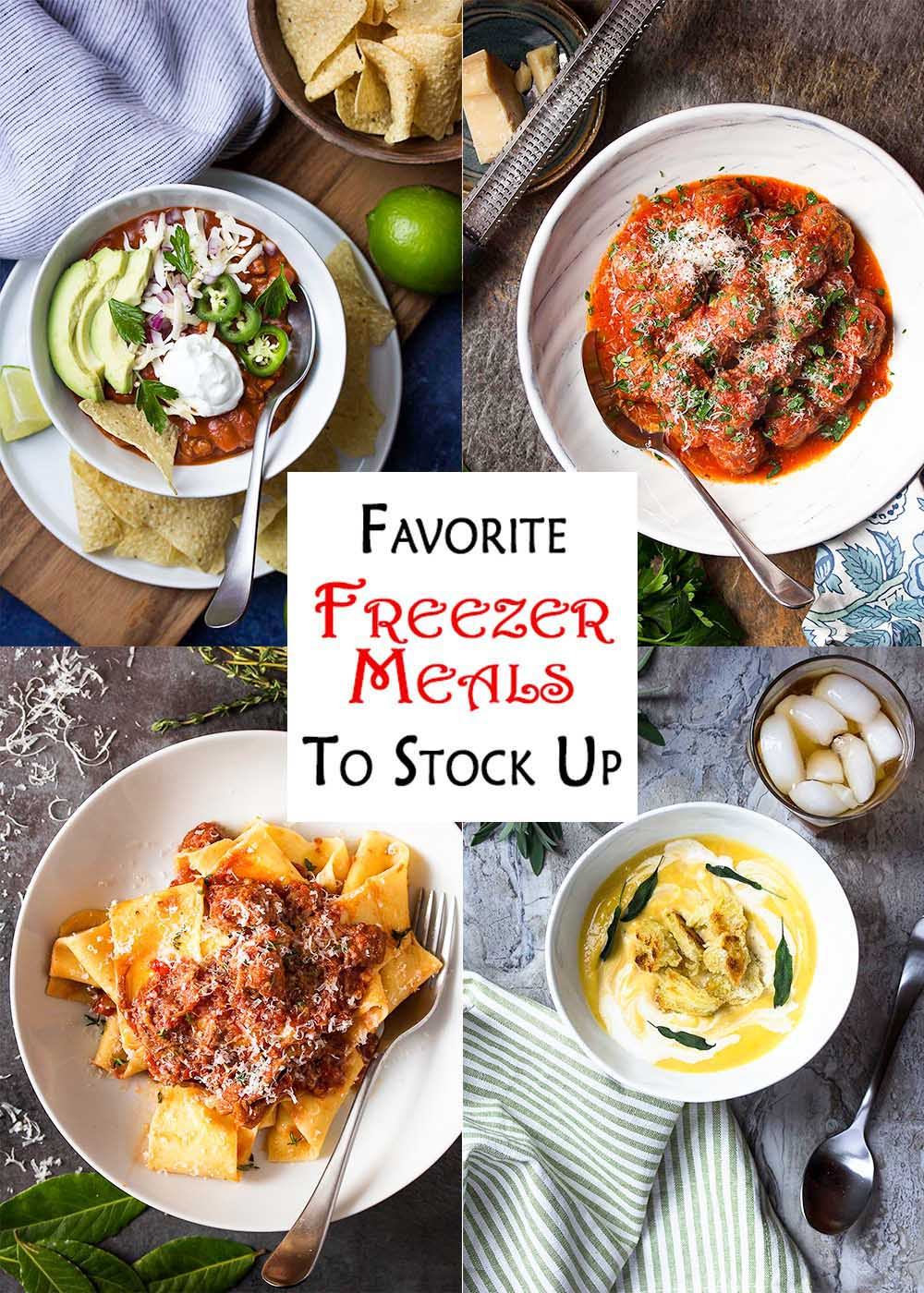 Collage of four recipes with text overlay - Favorite Freezer Meals to Stock Up.