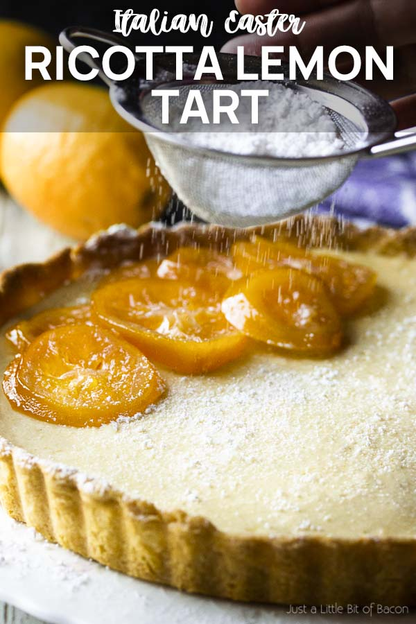 Confectioners' sugar dusting a cheese pie with text overlay - Ricotta Lemon Tart.