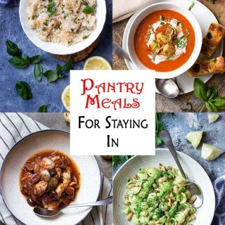 Here is a collection of pantry meals! These recipes use the pantry, freezer, and long shelf life fresh items to create satisfying dinners for the family. | justalittlebitofbacon.com #pantrymeals #pantrydinners #freezermeals #dinnerideas