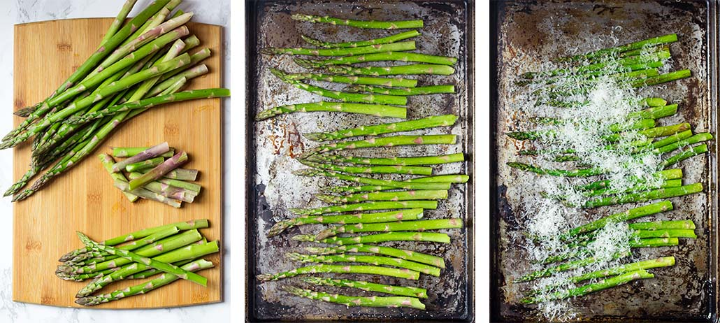 Step by stepy on how to make roasted asparagus with parmesan.