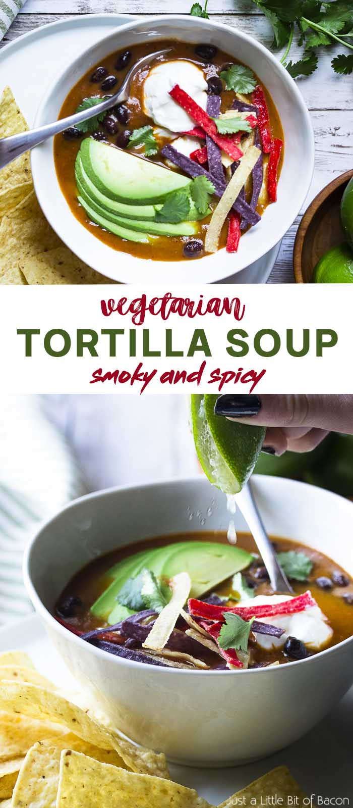 Soup in white bowl with toppings and text overlay - Vegetarian Tortilla Soup.