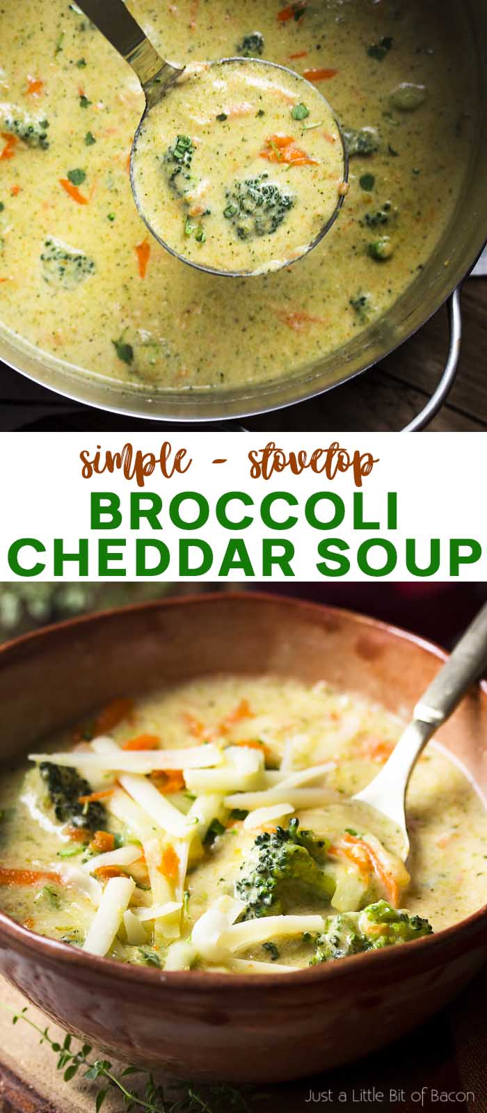 Soup in a ladle and in a bowl with text overlay - Broccoli Cheddar Soup.