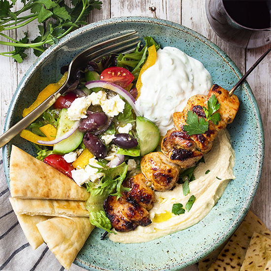 Chicken Souvlaki Hummus Bowl Just A Little Bit Of Bacon