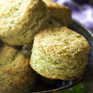 You can't beat homemade! These easy and fluffy herb buttermilk biscuits are the best. Quick to whip up, delicious, and can be made as drop or cut biscuits. | justalittlebitofbacon.com #breads #quickbreads #biscuits #breadrecipes #biscuitrecipes