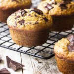 You'll love these simple and moist chocolate chip banana oat muffins! Perfect for a quick breakfast or a tasty snack on the go and they freeze well too!   justalittlebitofbacon.com #muffins #breakfast #bananas #muffinrecipes #breakfastrecipes #baking