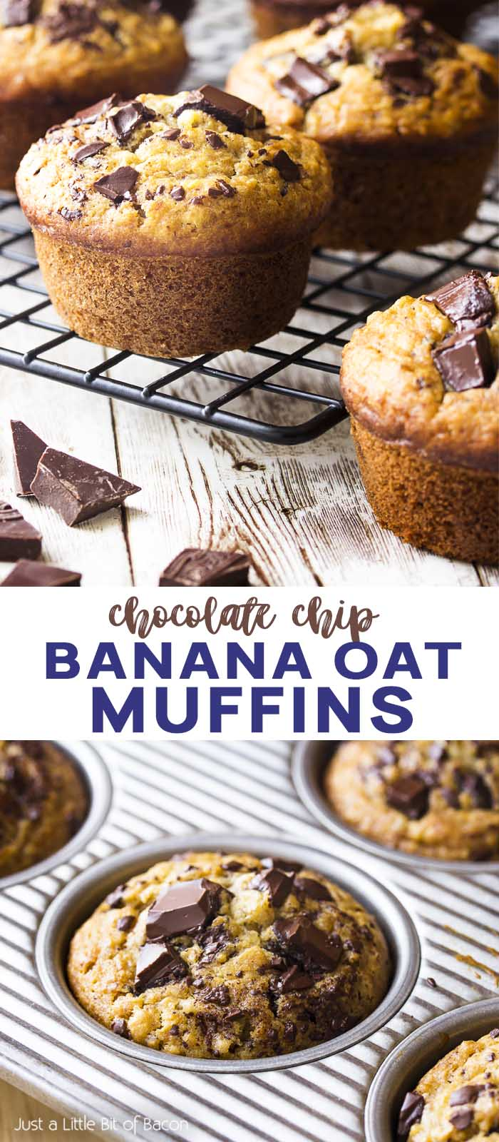 Muffins in the tray and on a rack with text overlay - Banana Oat Muffins.