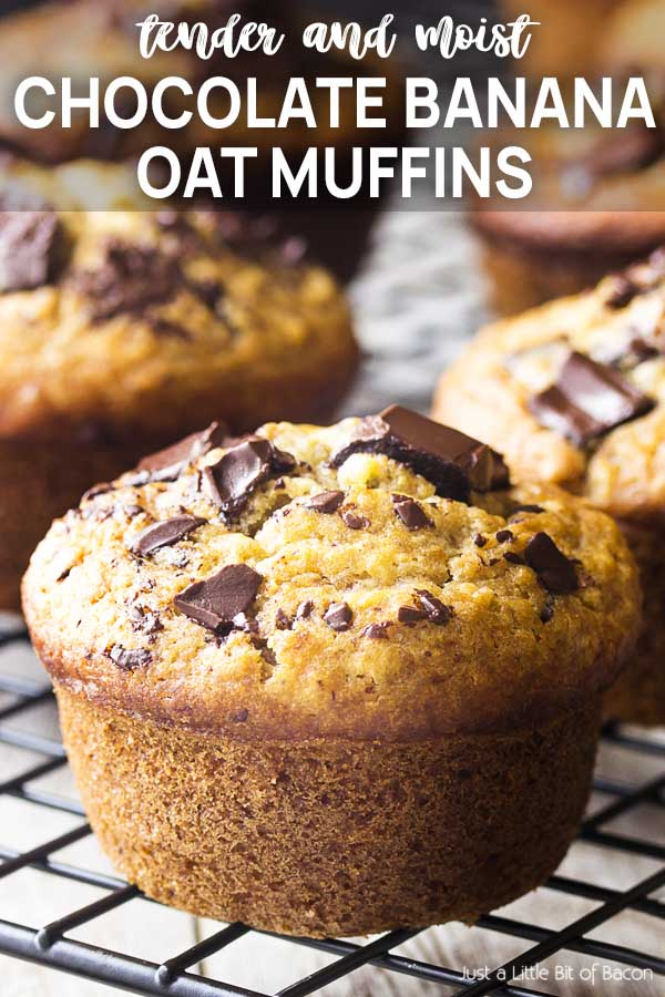 Close up of a muffin with text overlay - Chocolate Banana Oat Muffins.