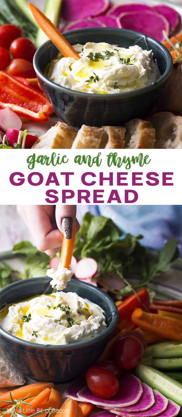 Recipe in a bowl being scooped up by a carrot with text overlay - Goat Cheese Spread.