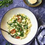 Learn how to make a simple spring greens pasta with whatever greens, pasta, beans, and herbs you have in the house! White beans or red; kale, spinach, or arugula; and your favorite fresh herbs all combine into a delicious sauce and a quick dinner. | justalittlebitofbacon.com #pastarecipes #greens #pasta #vegetariandinners #pantrydinners