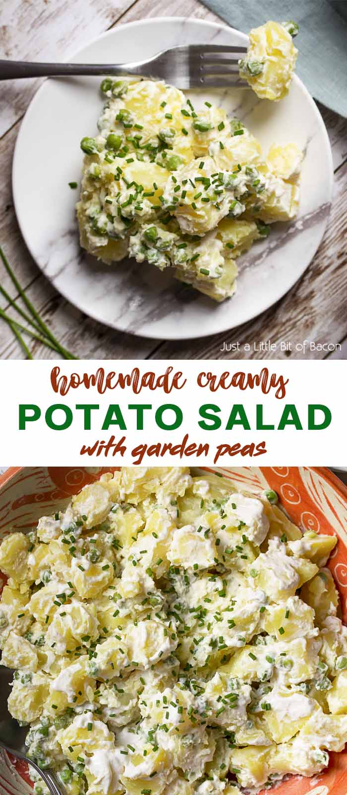 Potato salad on a plate and in a bowl with text overlay - Potato Salad.