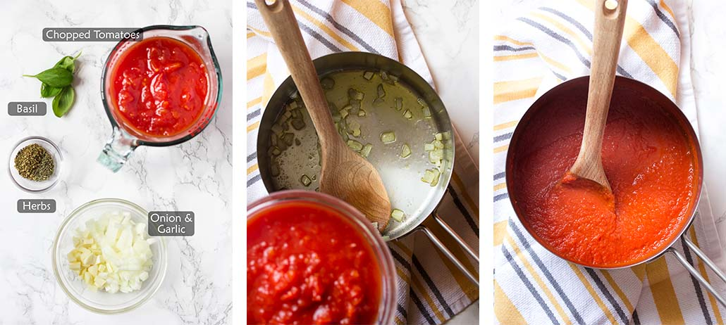 Ingredients and how to make the tomato sauce.