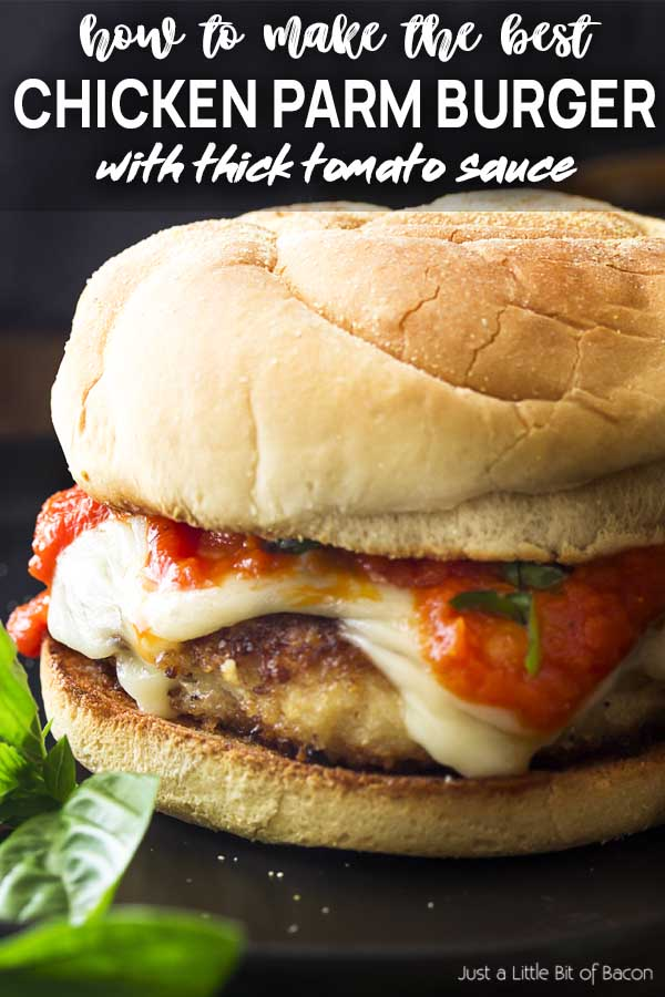 Closeup of a burger with text overlay - Chicken Parm Burger.