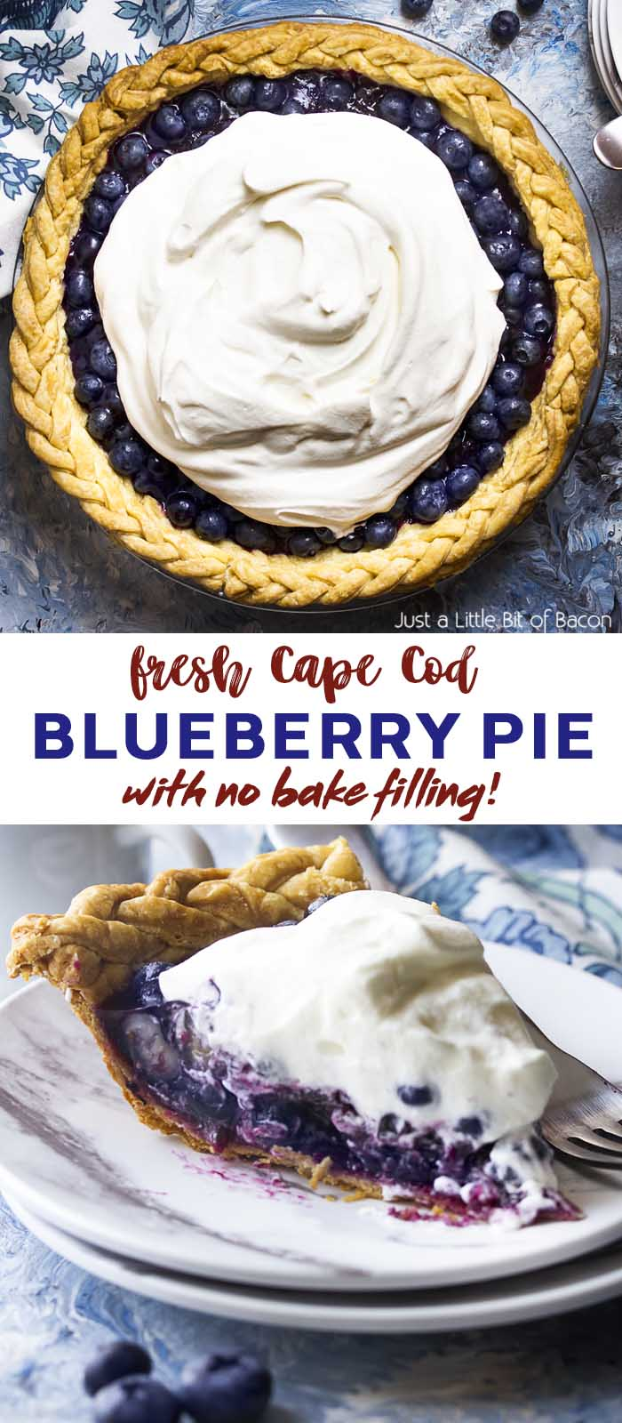 Whole pie and slice of pie on a plate with text overlay - Blueberry Pie.