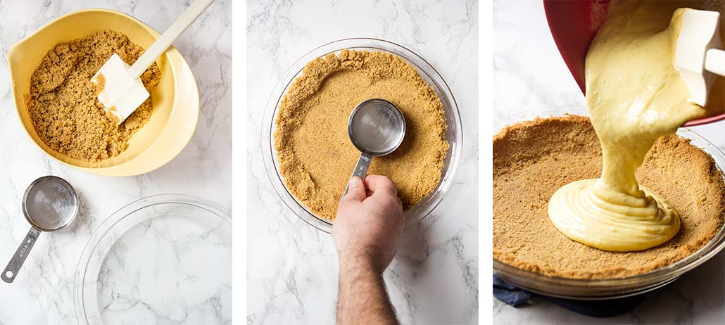 Step by step on how to make the graham cracker crust and fill the pie.