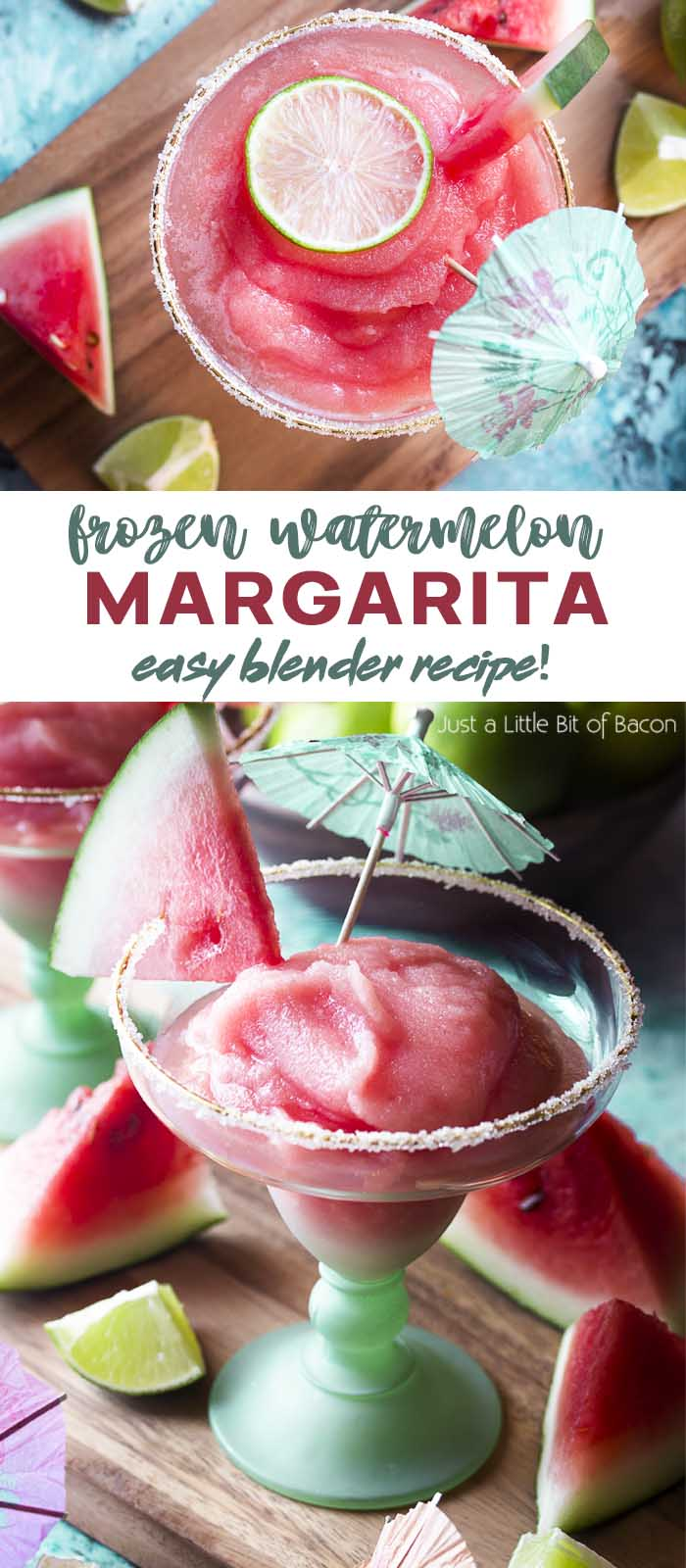 Two views of a frozen pink cocktail with text overlay - Frozen Watermelon Margarita.