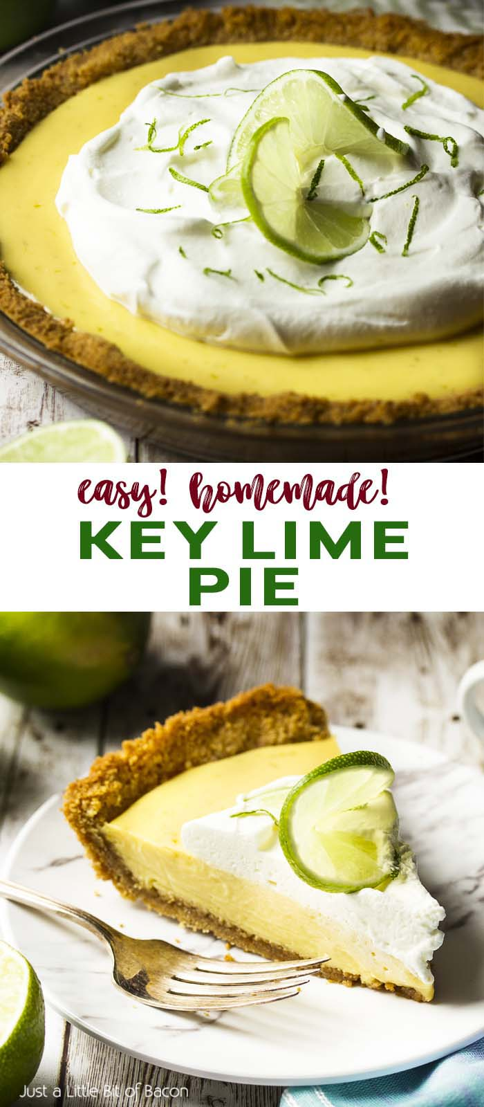 Whole pie and a slice on a small plate with text overlay - Key Lime Pie.