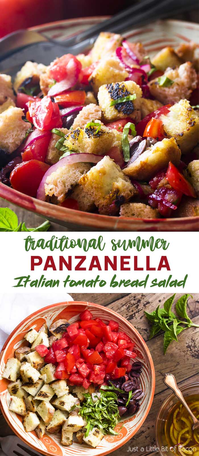 Two views of tomato bread salad in a serving bowl with text overlay - Panzanella.