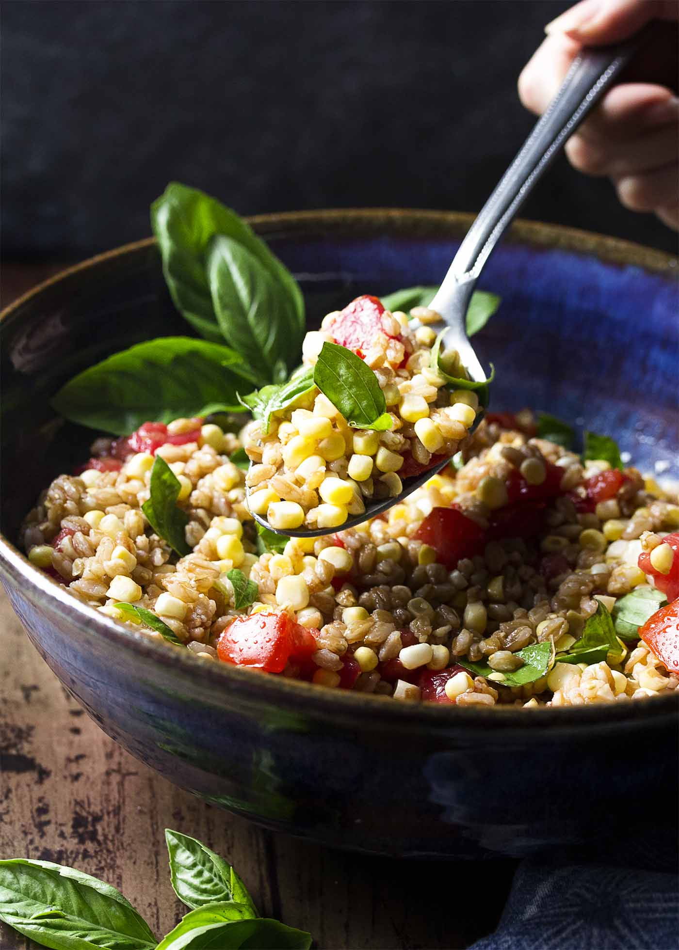 A spoonful of corn, tomato, and farro salad held over a serving bowl.