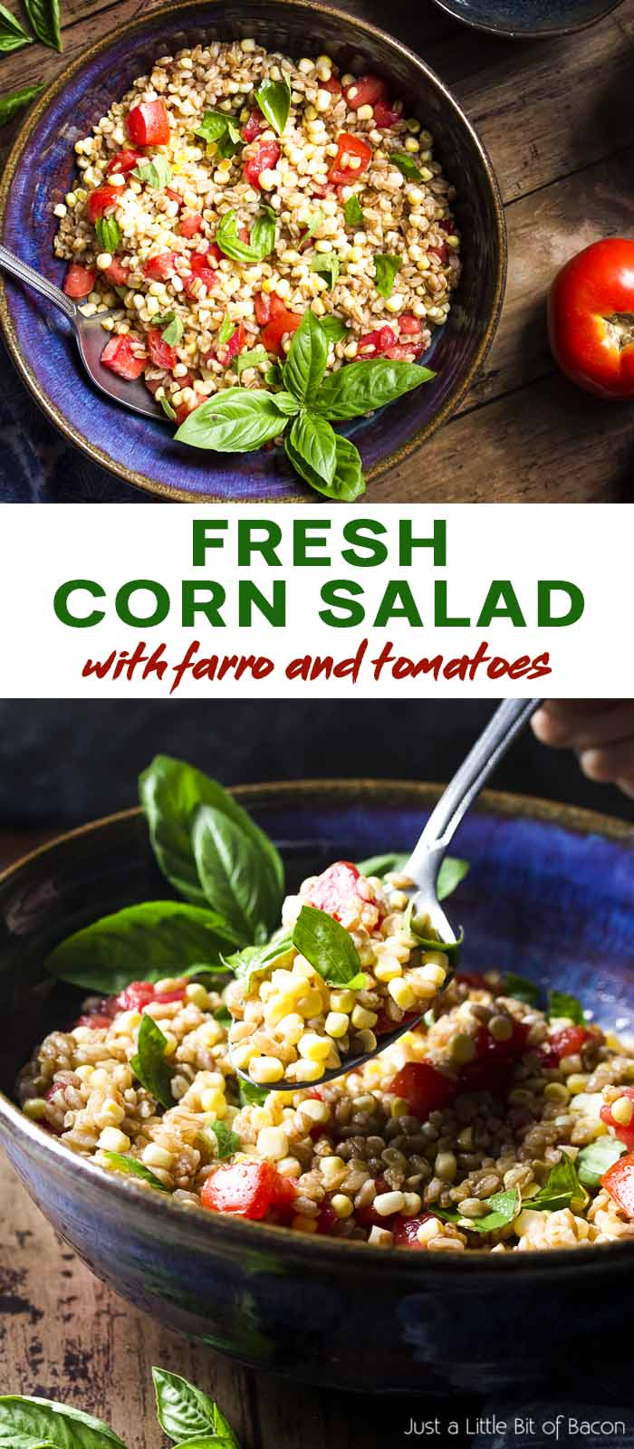 Two views of salad in a serving bowl with text overlay - Fresh Corn Salad.