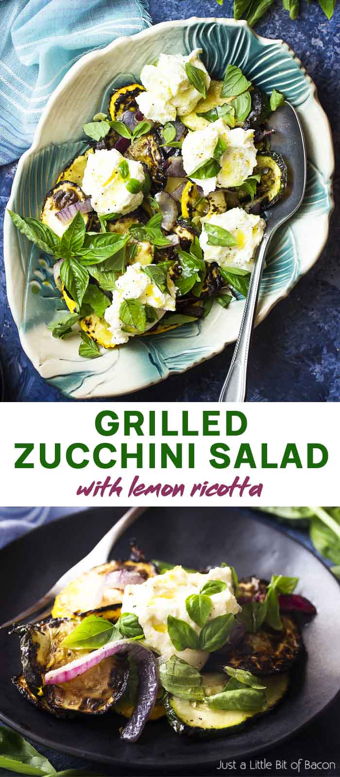 Salad in a serving plate and on a small plate with text overlay Grilled Zucchini Salad.