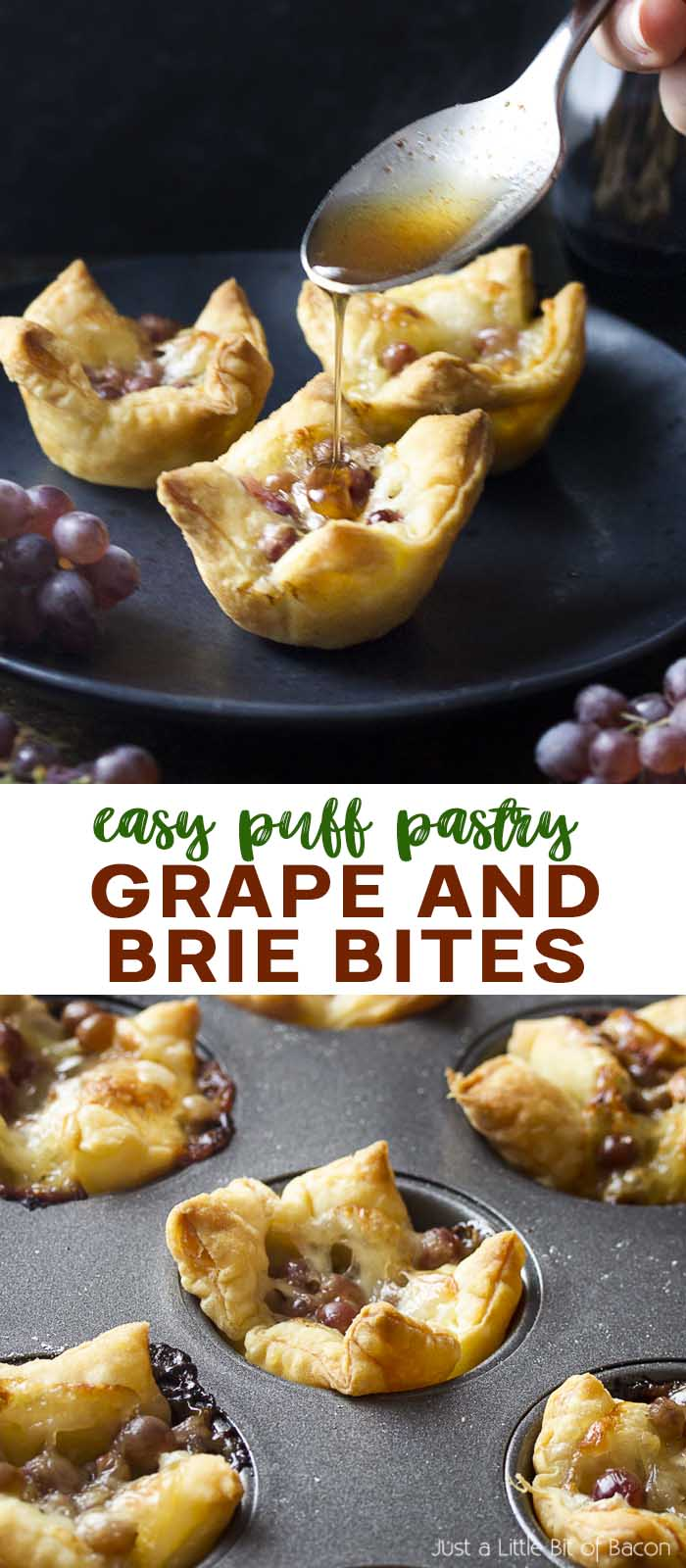 Two views of puff pastry tarts with text overlay - Grape and Brie Bites.