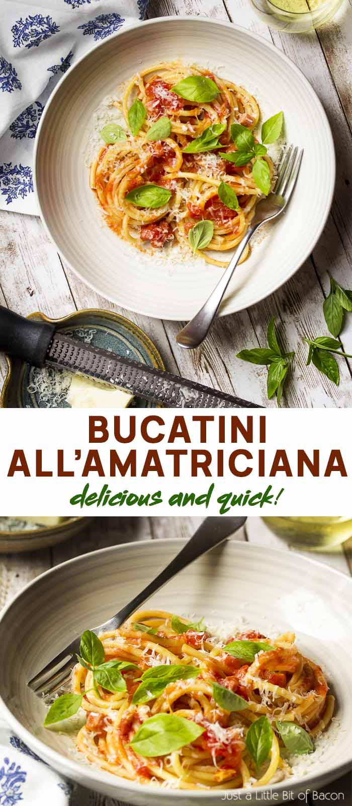 Two views of pasta and sauce in a wide bowl with text overlay - Bucatini all'Amatriciana