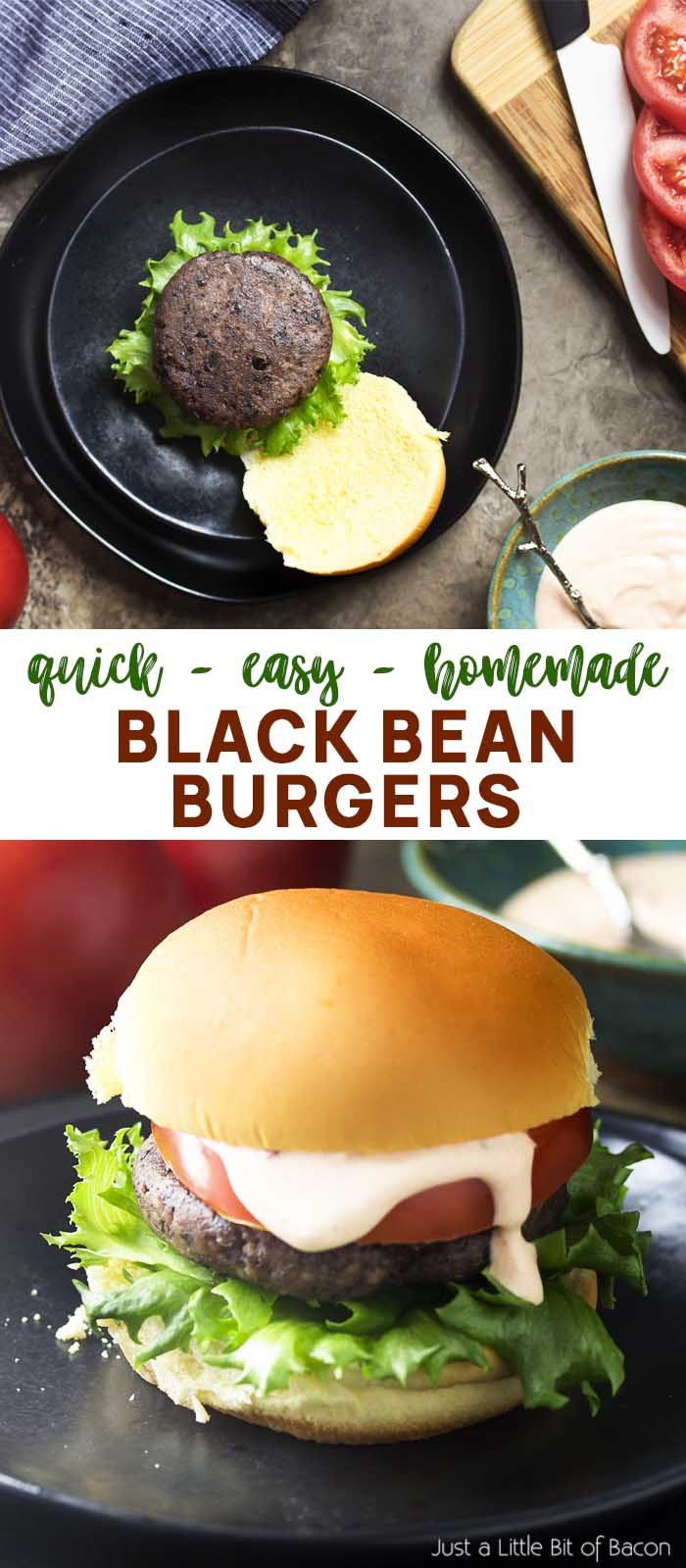 Two views of a burger on a bun with text overlay - Black Bean Burgers.