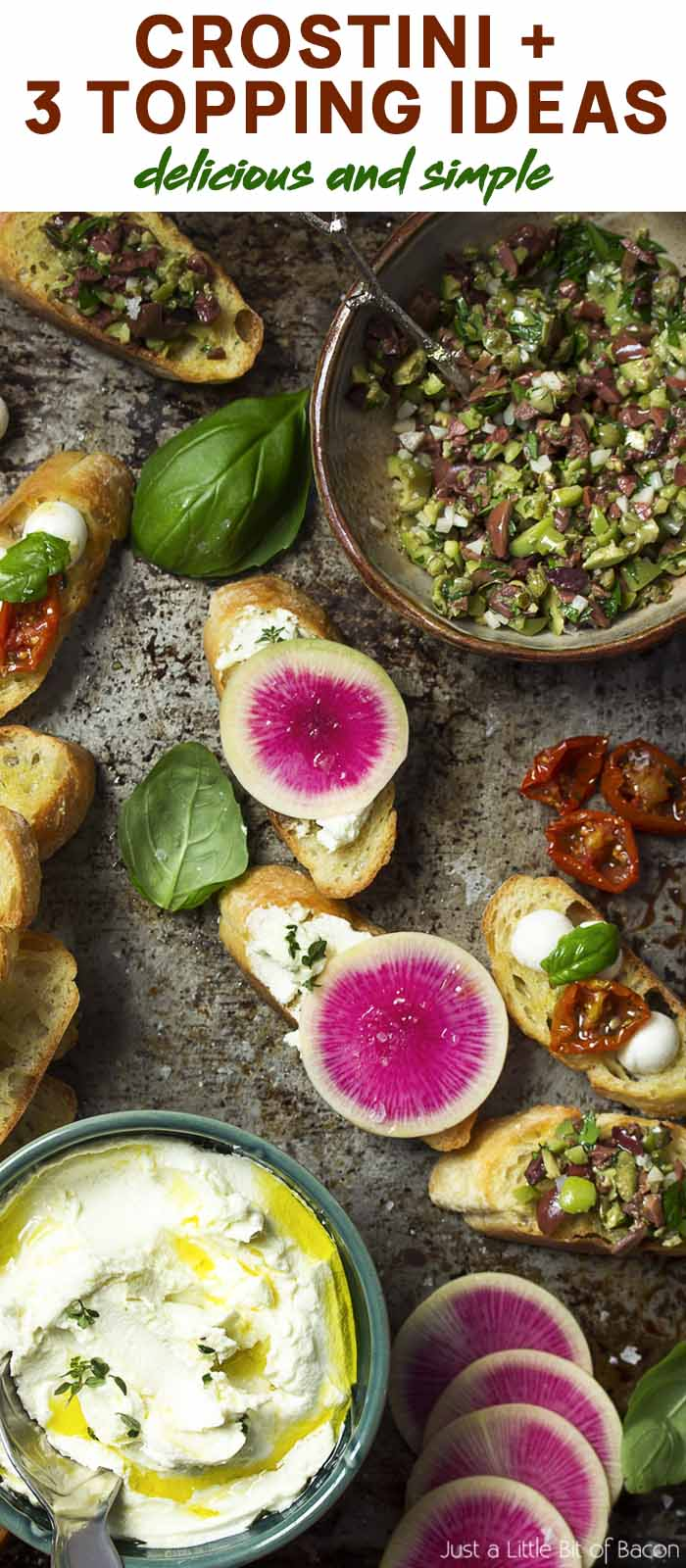 Tray covered with various crostini and text overlay - Crostini + 3 Topping Ideas.