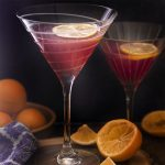 For a fun cosmo drink twist try this meyer lemon cosmopolitan cocktail! Great flavor, easy to make, and just a few ingredients. Make a glass or a pitcher. | justalittlebitofbacon.com #cocktailrecipes #cosmopolitan #drinkrecipes #cocktails #drinks #meyerlemons