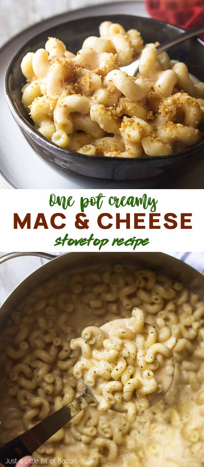 Creamy pasta in a bowl and in a pot with text overlay - Mac and Cheese.