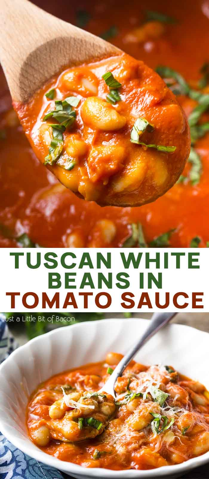 A spoon of beans and beans in a bowl with text overlay - Tuscan White Beans in Tomato Sauce.