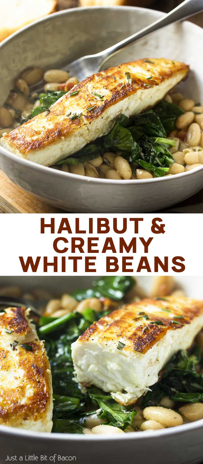 Two views of the recipe with text overlay - Halibut and Creamy White Beans.