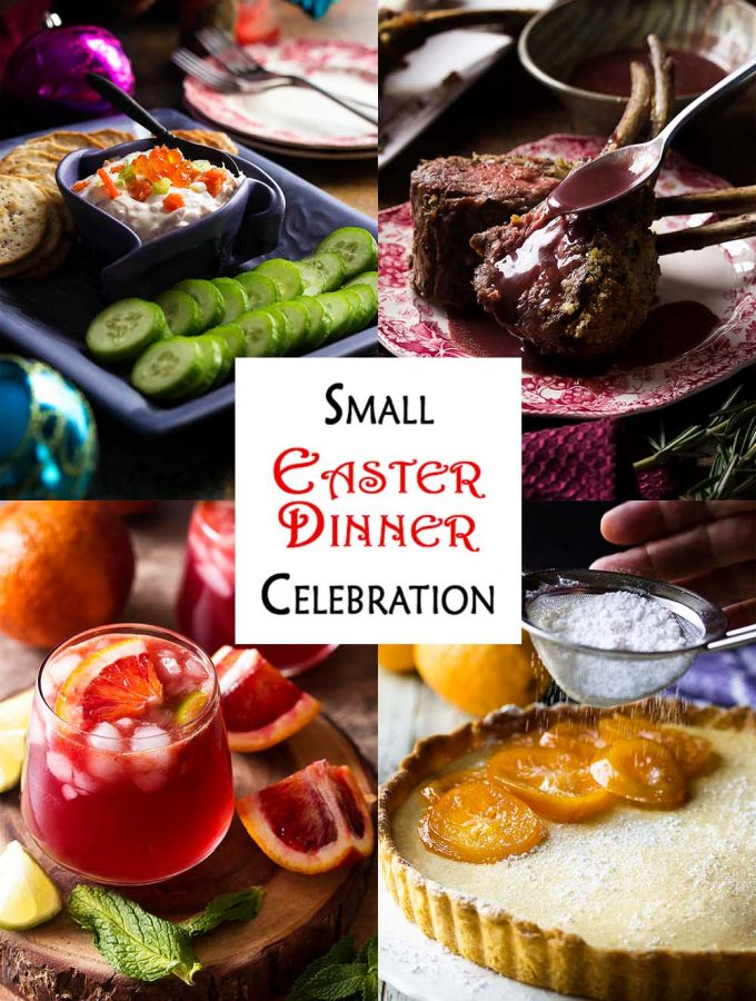 Looking for ideas for a holiday dinner? Here is a menu for a small Easter featuring rack of lamb as the main, including appetizer, drink, sides, and dessert. | justalittlebitofbacon.com #easter #easterdinner #holidaymenu #lambdinner