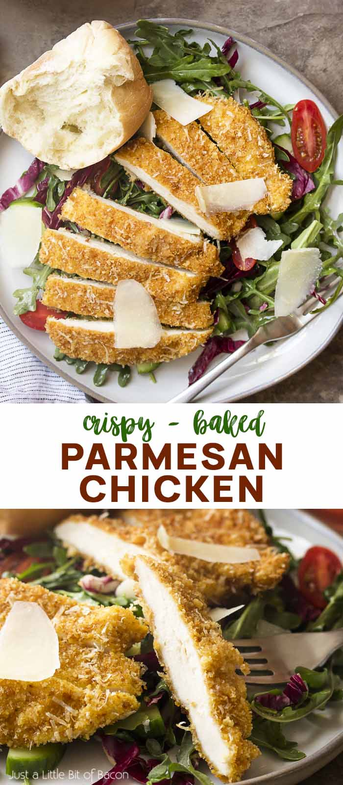 Two views of chicken over salad with text overlay - Parmesan Chicken.